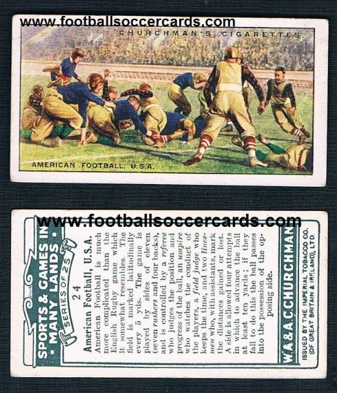 1929 Churchman Gridiron card Sports & Games in many Lands tobacco card from GB